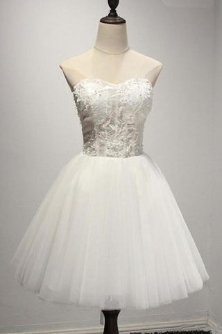 Ivory Strapless Mini Tulle Prom Dresses, A Line Sweetheart Appliqued Short Homecoming Dress N1086