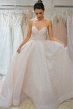 Ivory Sequined Sweetheart Prom Dress, Sparkly Floor Length Wedding Dresses