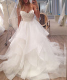 A Line Ivory Sweetheart Strapless Layered Tulle Long Beach Wedding Dress,N625