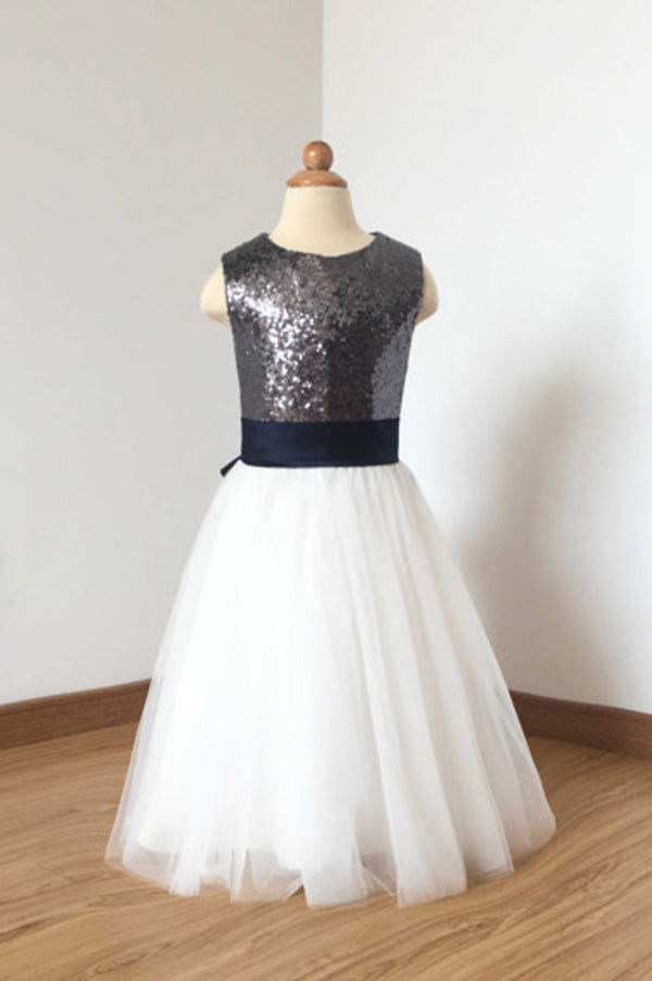 A Line Floor Length Charcoal Grey Sequin Ivory Tulle Flower Girl Dress with Navy Blue Bow F017