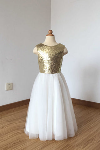 3fd51587198 A Line Floor Length Ivory Tulle Flower Girl Dress with Gold Sequin ...