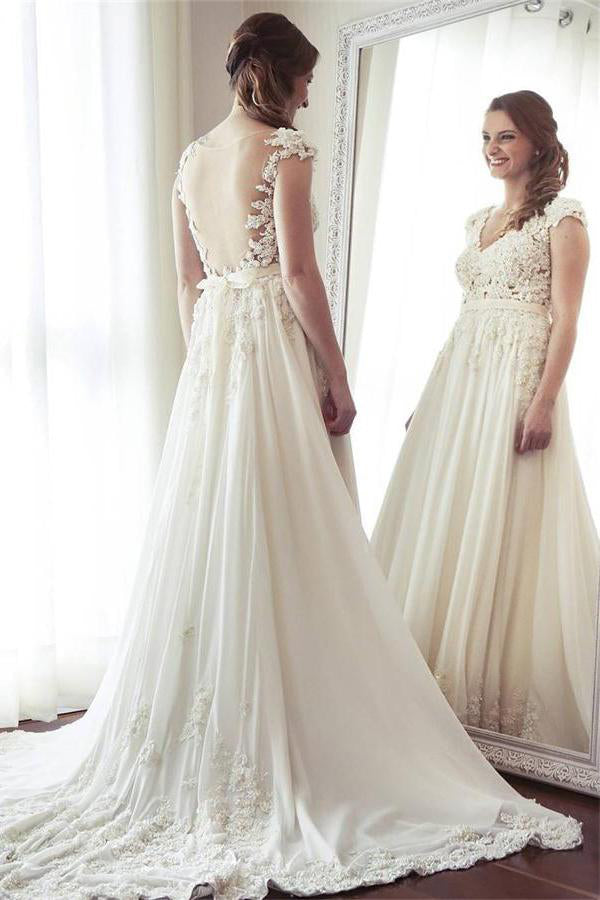 Charming Long Ivory Lace Chiffon V-neck Elegant Beach Wedding Dresses with Lace Applique