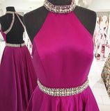 Hot Pink High Neck A-line Satin Beading Backless Long Prom Gown,Cheap Prom Dress,N502
