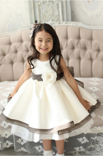 A-line Jewel Neck Girl Dress,Sleeveless Satin Tulle Flower Girl Dress with Flowers,F007