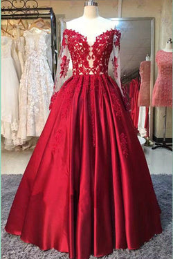 Long Sleeve Dress,Ball Gowns,Red Stain Prom Dresses with Appliques,Wedding Party Dress N42
