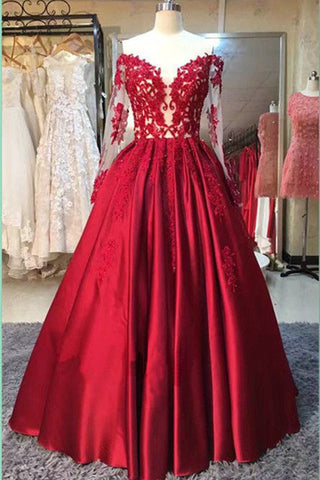 Long Sleeve Dressred Stain Prom Dresses With Appliquesparty Dress