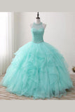 Mint Floor-length Jewel Sleeveless Ball Gown Beading Tulle Prom Dresses,Quinceanera Dresses,N403