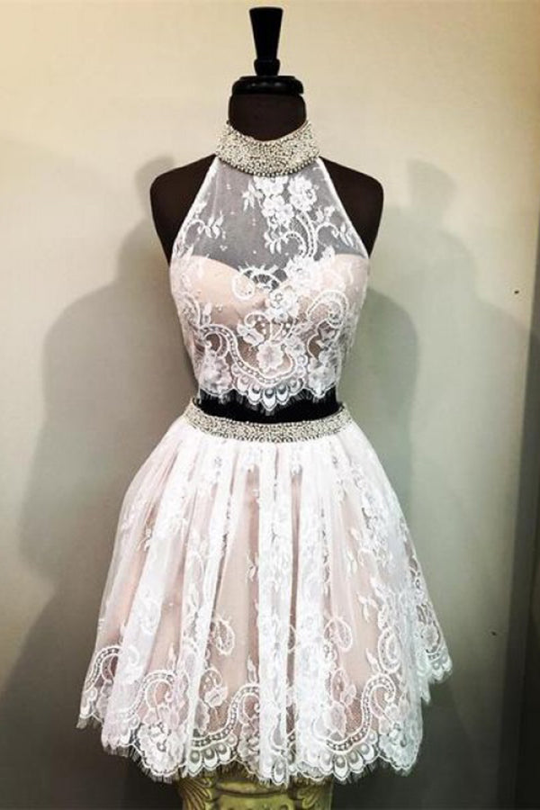 Lace High Neck Sleeveless Homecoming Dress with Beads, Two Piece Lace Short Prom Dress N890