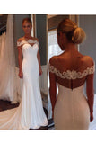Unique Sheer Neck Mermaid Wedding Dress with Lace, Mermaid Prom Dresses N941