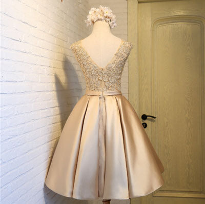 Chic Scoop Applique Satin Ruched Homecoming Dress with Belt,Short Prom Dress,Party Dress,N317