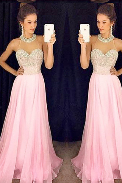 New Arrival 2017 Sexy Prom Dress,Pink Chiffon High Neck Beading Evening Dresses,N56