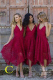 Pink V-neck Straps Tea Length Asymmetrical Lace Bridesmaid Dress,Midi Homecoming Dress,N153