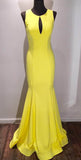 Elegant Yellow Scoop Open Back Sweep Train Mermaid Prom Gown,Formal Dresses,N538