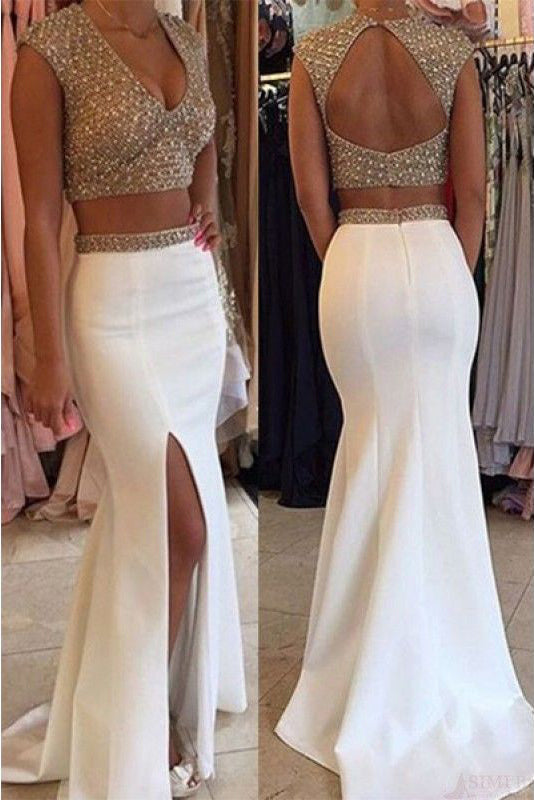 White Two Piece V Neck Mermaid Split Beading Prom Dresses,Open Back Formal Dresses,N363