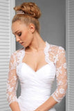 3/4 Sleeve Exquisite Lace Applique Bridal Jacket Scalloped Top Neck, Wedding Jacket