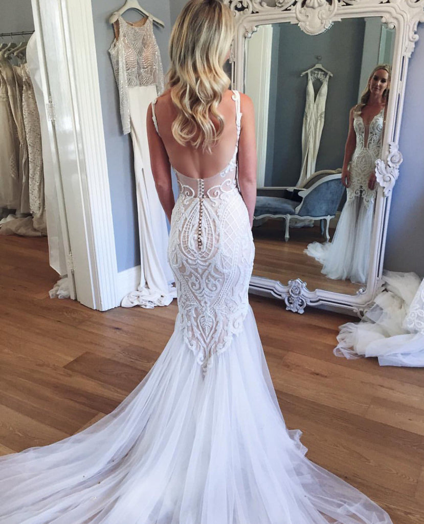 Mermaid Lace Deep V-neck Sleeveless Long Tulle Beach Wedding Dress,Bridal Gown,N527