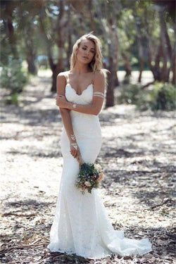 Spaghetti Strap Lace Beach Wedding Dress, Backless V Neck Sweep Train Long Bridal Dress N1510