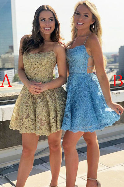 Spaghetti Strap Lace Short Homecoming Dress with Rhinestone, Backless Mini Prom Dress N2097