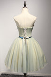 A Line Sweetheart Cute Short Homecoming Dress with Appliques, Mini Short Dress with Belt N930