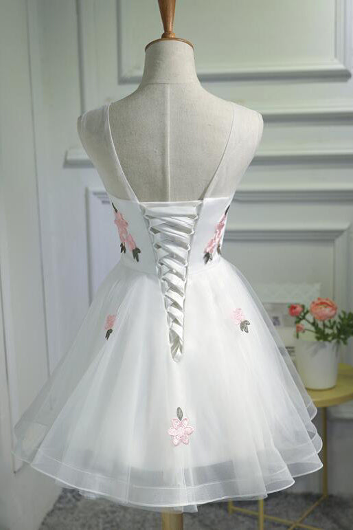 A Line Cheap Tulle Graduation Dress with Pink Appliques,Short Sleeveless Prom Dress N881