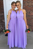 Lavender Halter Floor Length Chiffon Bridesmaid Dress, Cheap Long Wedding Guest Dress