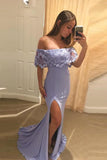 Lavender Off Shoulder Mermaid Split Evening Dress with Lace, Sexy Slit Prom Dress