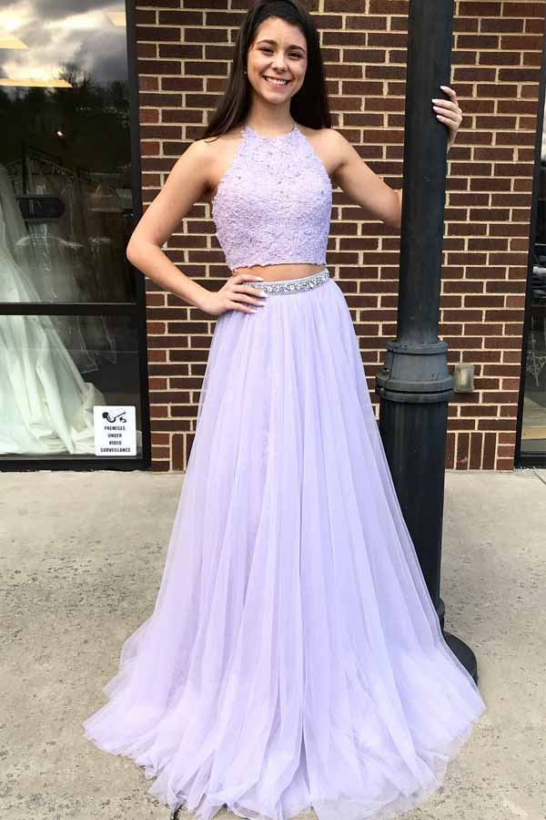 Two Piece Halter Lavender Prom Dress With Beading, Floor Length Tulle Evening Dress