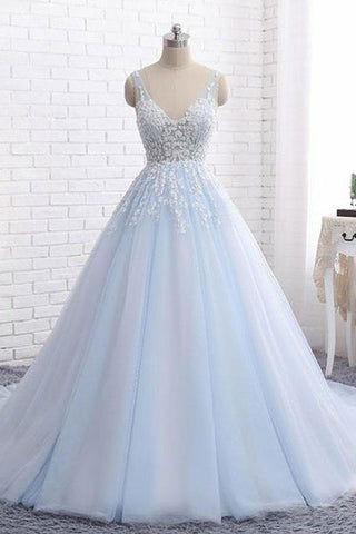Light Blue V Neck Sleeveless Ball Gown Wedding Dress Appliqued