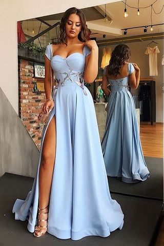 A Line Cap Sleeve Sweetheart Long Split Prom Dress with Appliques, Charming Formal Dress