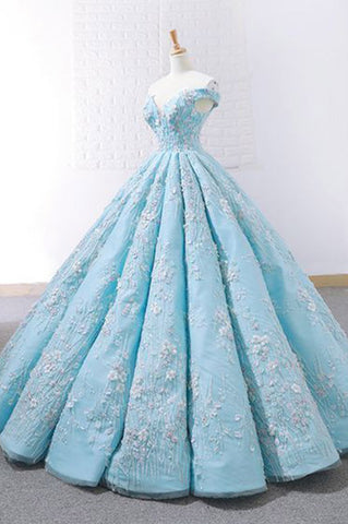 4b0ab5a107 Light Blue Off Shoulder Ball Gown Prom Dress, Gorgeous Lace Appliques  Quinceanrea Dress N1301