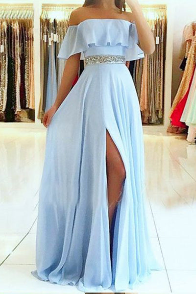 Light Blue Off the Shoulder Split Prom Dress with Beading Waist, Flowy Party Dresses N1751