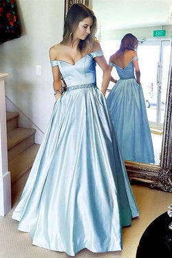 Light Blue Off the Shoulder Satin Prom Dress with Beading, Cheap Long Formal Dress N1566