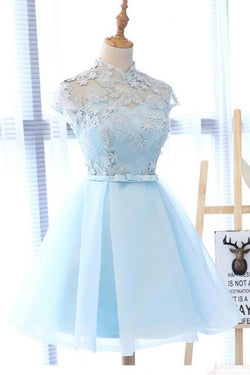 A Line High Neck Cap Sleeves Organza Homecoming Dresses with Bowknot