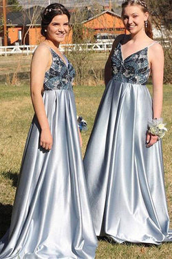 Light Blue Spaghetti Strap Beaded Satin Prom Dress, Sparkly Beading Bridesmaid Dress N1462