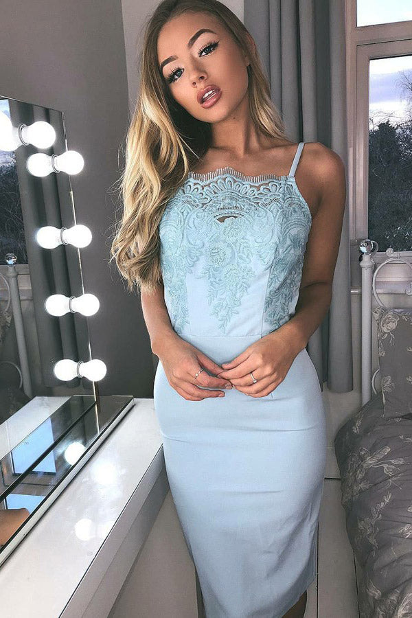 Sheath Spaghetti Straps Light Blue Knee Length Party Dress, Lace Appliqued Prom Dress N977