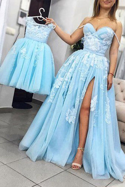 Unique Light Sky Blue Tulle Prom Dress with Slit, A Line Sweetheart Long Prom Gown N1653