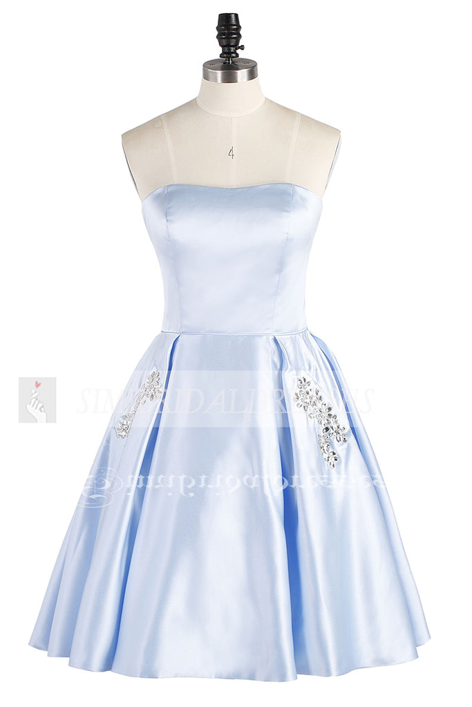 Light Blue Strapless Short Satin Homecoming Dress, Cheap Cocktail Dress with Beading
