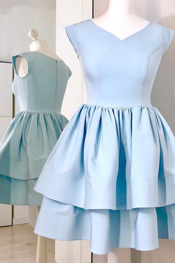 Light Blue Cap Sleeve Homecoming Dress, Two Layers V Neck Short Party Dress,
