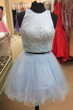 Light Blue Two Piece Homecoming Dress with Beading, Cute Tulle Short Party Dress