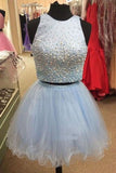 Light Blue Two Piece Homecoming Dress with Beading, Cute Tulle Short Party Dress N1062