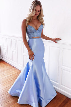 Two Piece Light Blue Mermaid Prom Dress, Simple Spaghetti Strap Satin Formal Dress N1572