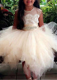 Cheap Princess Scoop Tulle Flower Girl Dress with Beading Belt,F014
