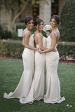 Light Champagne Spaghetti Straps Trumpet Mermaid Bridesmaid Dress with Lace N799
