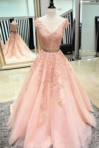 A Line V Neck Prom Dress with Lace Appliques, Cheap Tulle Party Dress with Beading N1591