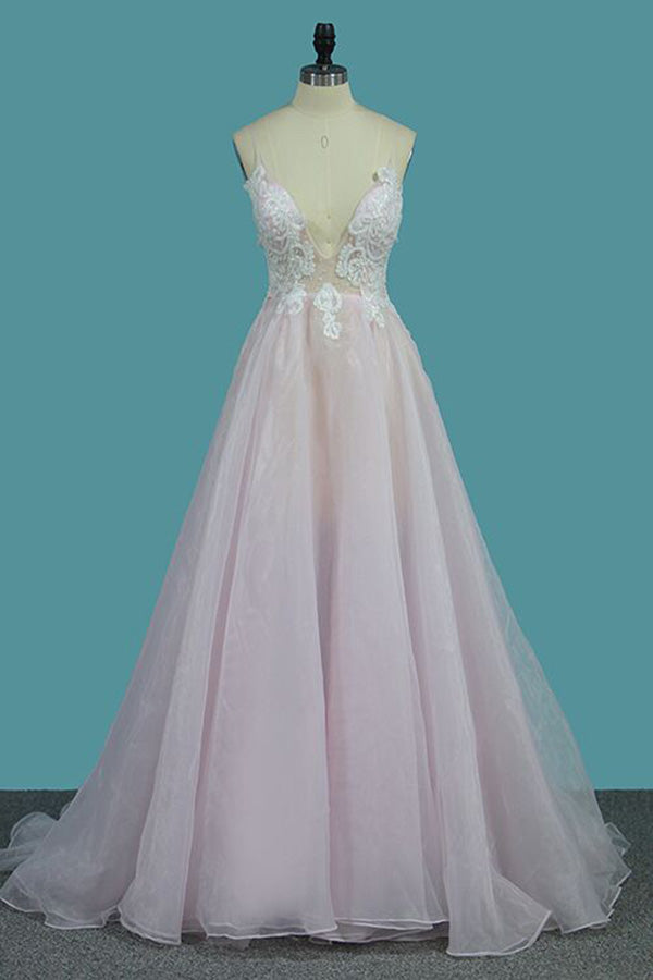 Deep V Neck Light Pink A Line Prom Dress, Spaghetti Straps Appliques Sexy Prom Dress