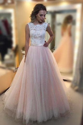 Pink Low Back Sleeveless Tulle Prom Dress With Lace Top