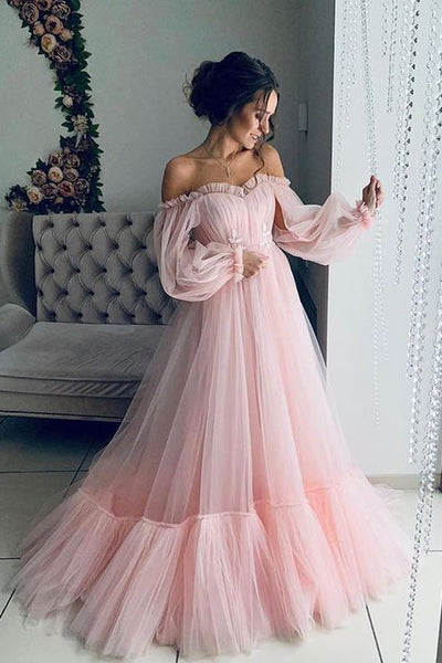 Light Pink Long Sleeves Prom Dresses, Boho Off the Shoulder Beach Wedding Dresses N1813