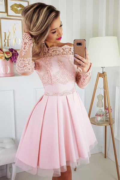 Light Pink Off the Shoulder Long Sleeves Short Homecoming Dress with Lace Appliques N1842