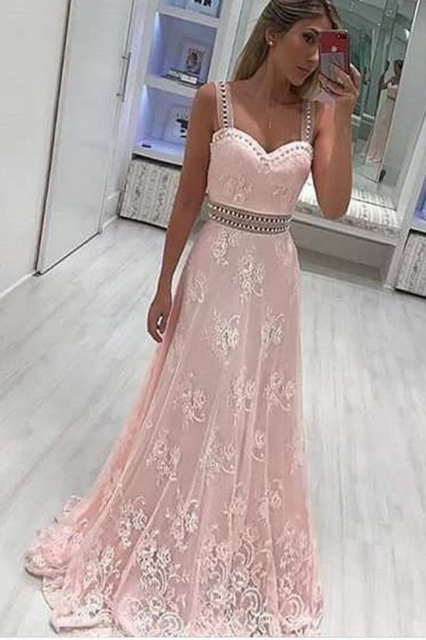 A Line Straps Lace Appliqued Prom Dress with Beads, Light Pink Long Party Dresses