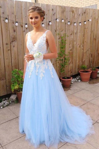 3947815b3f7 Light Sky Blue V Neck Long Tulle Prom Dress with Ivory Lace Appliques